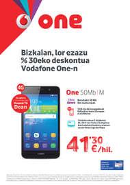 Bizkaian, lor ezazu %30eko deskontua Vodafone One-n