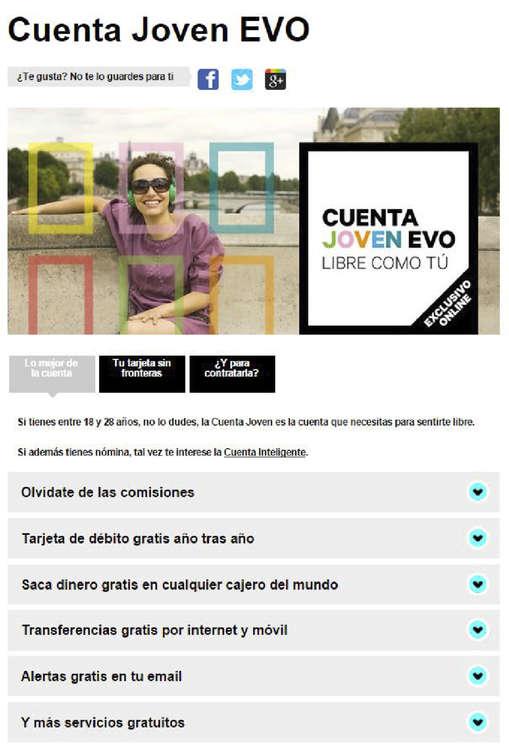 Ofertas de Evo Banco, Cuentas y planes EVO