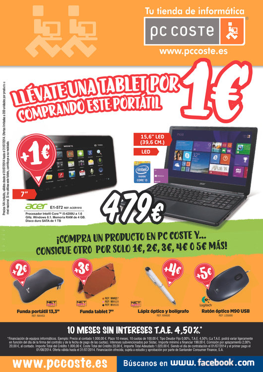 Ofertas de PC Coste, ¡Llévate una tablet por 1€!