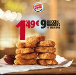 Ofertas de Burger King, 9 Chicken Nuggets + 1 Salsa