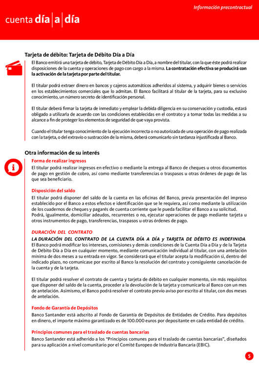 Ofertas de Santander, Información precontractual
