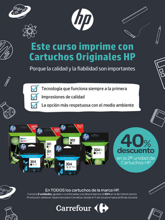 Ofertas de HP, Este curso imprime con Cartuchos originales HP