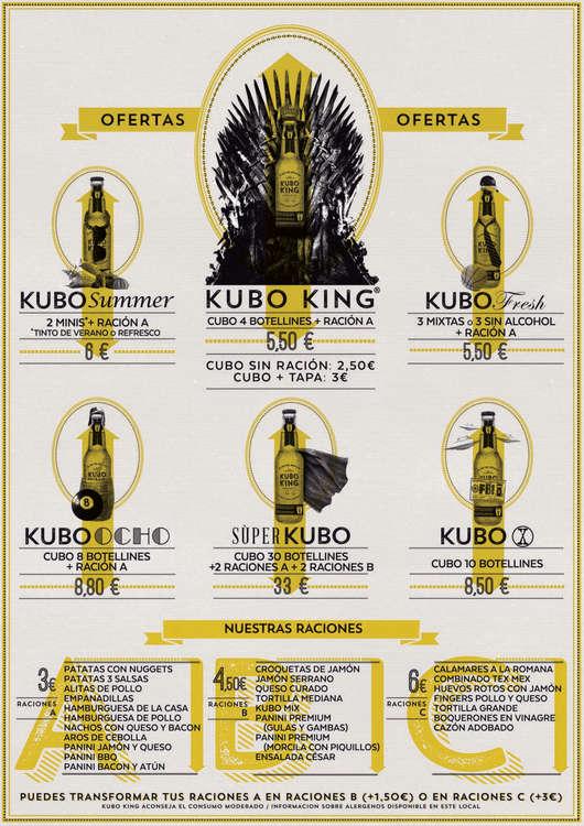 Ofertas de Kubo King, Carta cocktails