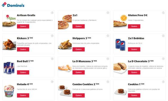 Ofertas de Domino's Pizza, Promociones